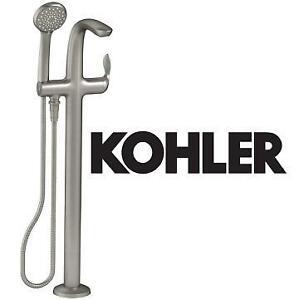 NEW* KOHLER FLOOR MOUNT BATH FILLER - 121457404 - W/ HAND SHOWER REFINIA BRUSHED NICKEL