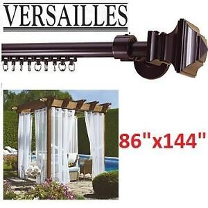 NEW VERSAILLES CURTAIN DRAPERY ROD 3-IN-1 MULTIPOLE ROD SET SQUARE FINIAL 103009278