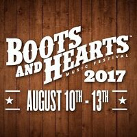 2017 2X BOOTS & HEARTS G.A. tickets WITH tent camping