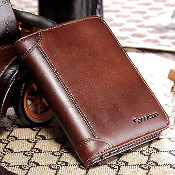 Best Men Genuine Leather RFID Blocking Secure Tri-fold Wallet - Free