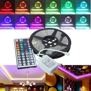 16ft 5050 RGB LED Strip - 300 leds, 44 keys remote