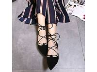JUSTFAB STRAPPY POINTED TOE FLAT size 36