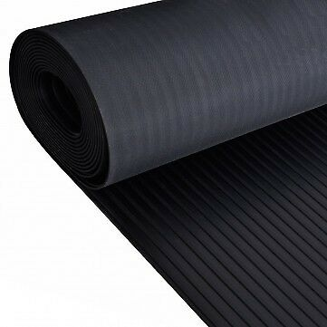 Car Parts - Wide Broad Ribbed Rubber Flooring Matting for Garage, Van Car Roll Mat
