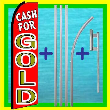 Cash For Gold 15 Ft Tall Swooper Flag Kit Advertising Feather Flutter Bow Banner