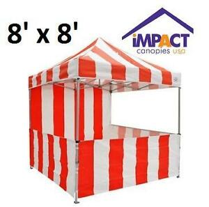 NEW CARNIVAL POP UP CANOPY TENT KIT - 128043338 - IMPACT CANOPIES RED AND WHITE STRIPED 8'x8'