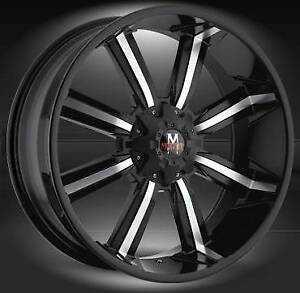 """24"""" OFFROAD MONSTER M03 BLACK + 295/35/24 TIRE CHEVY 1500 TAHOE"""