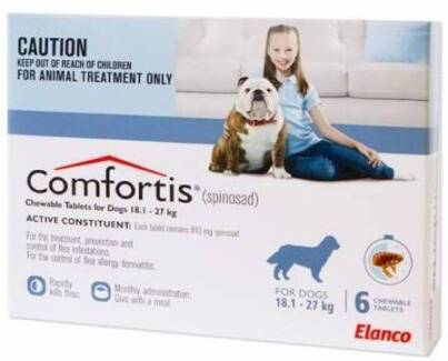 Comfortis Blue Flea Treatment - 5 chewable tabs for large dogs