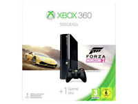 Brand new Xbox 360 e 500g comes with warranty, games, Kinect, 3 controllers and is boxed