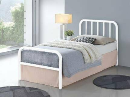 Brand New Olly Single/King Single Bed Frame In White and Black