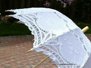 Brand new, Victorian Lace Wedding Parasol large white and ecru