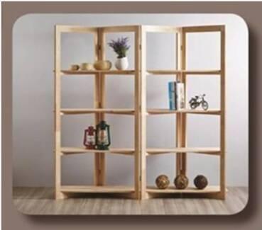 New Natural Timber Scandi Zig Zag Unit Bookcase Storage Shelves