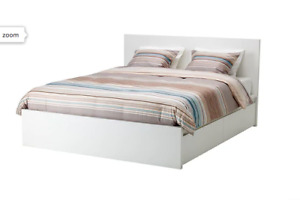 Malm White Double/Full Bed frame iKea with Storage and Headboard