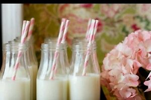 10 x 250 ml School/Retro/Vintage Glass Milk Bottles WITHOUT LIDS Wedding/Parties