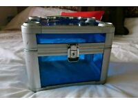 Beautiful transparent blue Make up or jewellery box with key