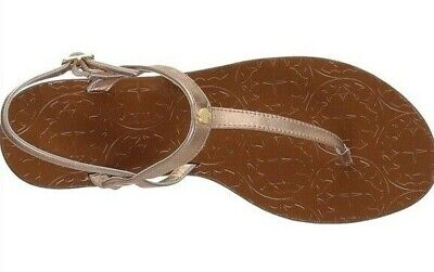 Kate Spade 9 Sandals Citrine Gold Bronze T-Strap Women's NEW