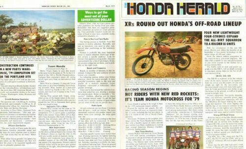 1979 March Honda Herald 4-Page Vintage Motorcycle Newsletter