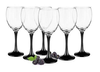 6 Weingläser 300ml mit schwarzen Füßen Weinglas Weißweingläser Rotweingläser