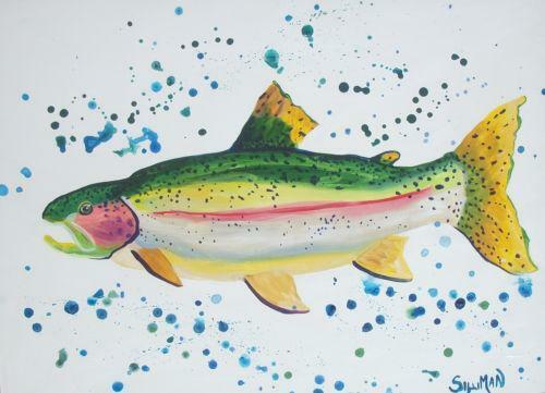 fish watercolor trout painting ebay