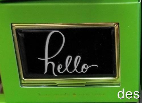 KATE SPADE ~  Boudoir Chic HELLO ~ Business Card Holder  NIB GIFT