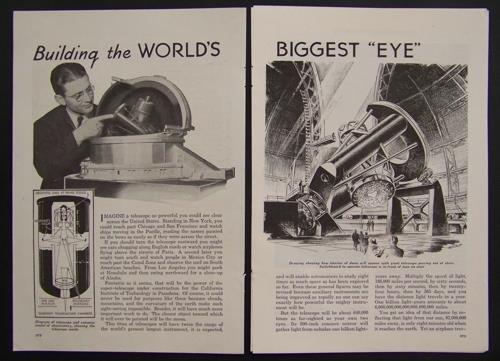 1936 Mount Palomar Telescope Observatory original vintage Construction pictorial