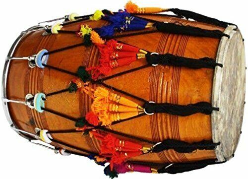 Punjabi Bhangra Dhol Musical Instrument Mango Wood Natural Barrel Shaped