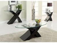 "Designer BLACK ""X"" MILANO High Gloss & Glass Coffee Table Modern Furniture"