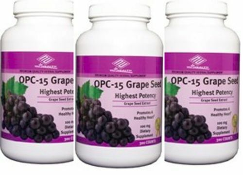 3X Highest Potency Grape Seed Extract 300 Tablets OPC 15 Red Wine Bilberry Nu-H