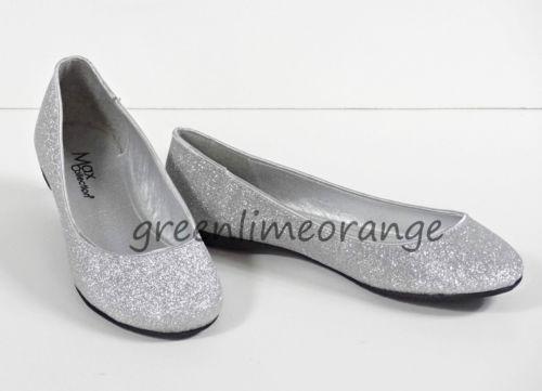 Silver Flat Ballet Shoes