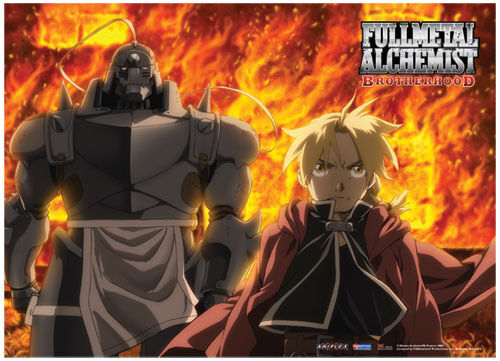 Fullmetal Alchemist Brotherhood: Ed and Al Fire Fabric Poster (Wall Art) *NEW*