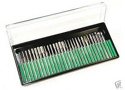 Rotary Tool 30 Piece Medium Grit Diamond Bur Bit Carving Set Works With Dremel