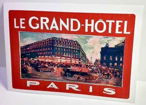 Le Grand Hotel Paris Vintage Style Travel Decal / Vinyl Sticker, Luggage Label