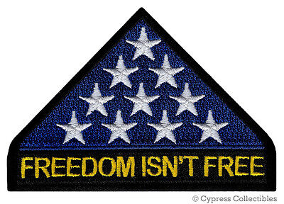 IN MEMORIAM PATCH FREEDOM ISNT FREE iron-on embroidered AMERICA FLAG VETERAN KIA