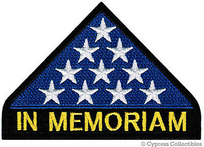 IN MEMORIAM PATCH - MILITARY HONOR iron-on embroidered AMERICAN FLAG VETERAN KIA