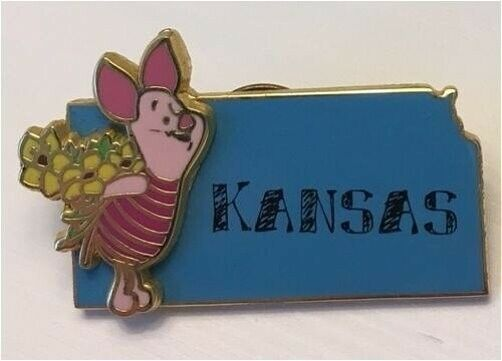 HTF OLD Disney Pin Kansas State Character Pin Piglet Holding Bunch Wild Flowers