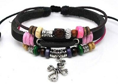 - 4030145 Christian Cross Leather Scripture Bible Bracelet Religious