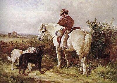 GORDON SETTER ENGLISH SETTER DOG FINE ART PRINT & Gamekeeper Gillie on Horseback