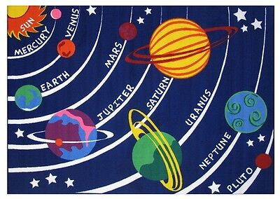 Solar System Rug (Kids Bedroom Rug Planets Solar System Science Galaxy Area Accent Child Play)