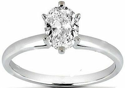 GIA 0.50 carat F SI1 Oval Shape Diamond Wedding Solitaire 14K White Gold Ring