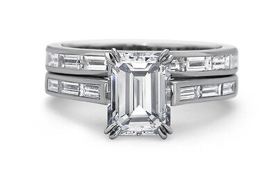 3.20 Ct Emerald Cut Diamond Bridal Ring Set Baguette Accents I,VS2 GIA 18K WG