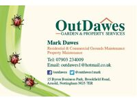 OutDawes Garden Services. No job is too small. Lawn cutting from £10. Hedges. Trees. Insured.