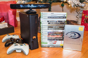 Xbox 360 Slim24gb Kinect Bundle, 3 Controllers & 1-3 Games