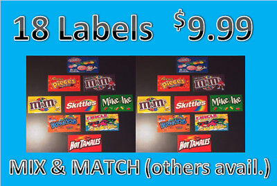 18 Vendstar 3000 Vending Machine Candy Stickers Labels Free Shipping
