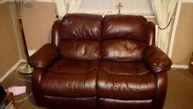 3 seater leather recliner and 2 seater