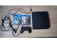 Ps4 slim, 4 games, all wires, 2 controller