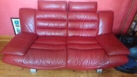 Leather 3 seater and chaise long