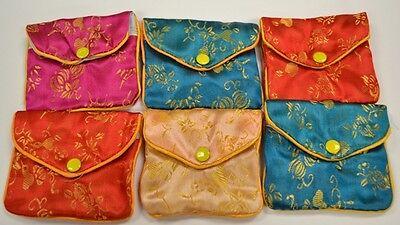 Silk Jewelry Chinese Pouch Bag Roll Assorted Four Dozen Zipper - 3 12 X 3