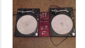 Technics 1200 DJ turntables & mixer vinyl records