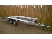 STRONG CAR TRANSPORTER TRAILER 2700KG GROSS 14.9 X 6.9 FT 2200KG PAY LOAD WILL TAKE VAN WITH EASE.