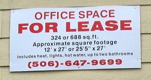 Office space available 506-647-9699