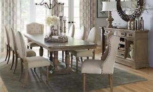 SOLID WOOD DINNIG TABLE WITH FABRIC CHAIRS ON SALE (ND 105)